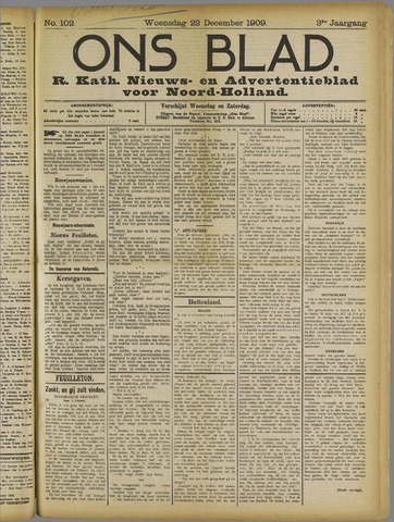 Ons Blad : katholiek nieuwsblad voor N-H 1909-12-22