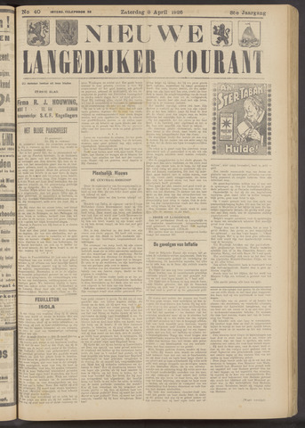 Nieuwe Langedijker Courant 1926-04-03