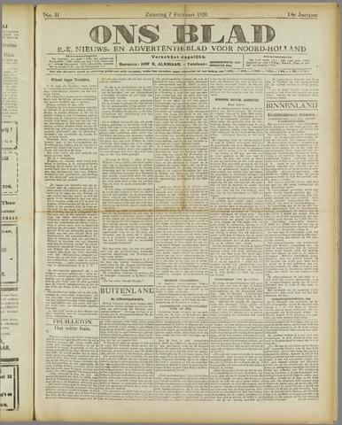 Ons Blad : katholiek nieuwsblad voor N-H 1920-02-07