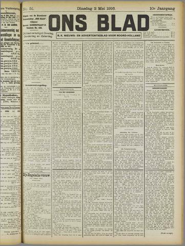 Ons Blad : katholiek nieuwsblad voor N-H 1916-05-02