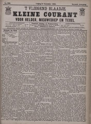 Vliegend blaadje : nieuws- en advertentiebode voor Den Helder 1881-11-04