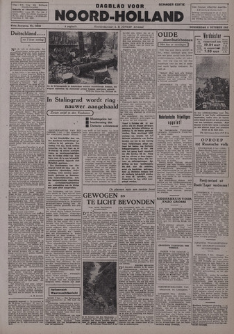 Dagblad Noord-Holland, Schager editie 1942-10-08