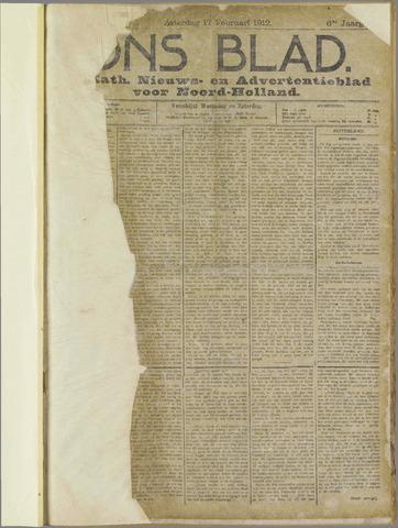 Ons Blad : katholiek nieuwsblad voor N-H 1912-02-17