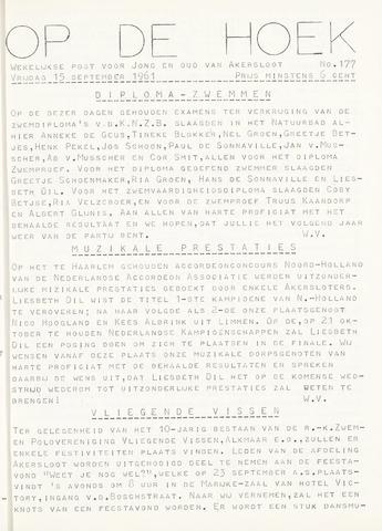 Op De Hoek, weekblad voor Akersloot 1961-09-15