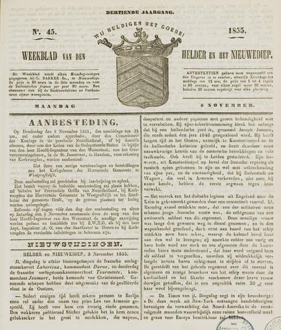 Weekblad van Den Helder en het Nieuwediep 1855-11-05