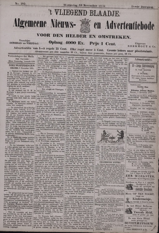 Vliegend blaadje : nieuws- en advertentiebode voor Den Helder 1875-11-10