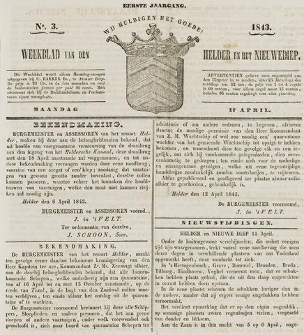 Weekblad van Den Helder en het Nieuwediep 1843-04-17