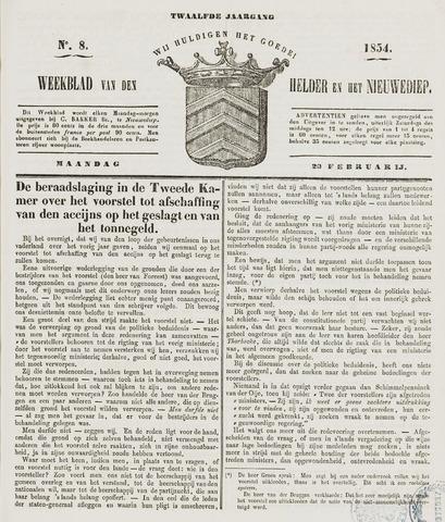 Weekblad van Den Helder en het Nieuwediep 1854-02-20