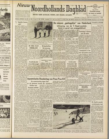 Nieuw Noordhollandsch Dagblad : voor Alkmaar en omgeving 1949-02-14