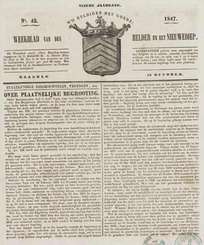 Weekblad van Den Helder en het Nieuwediep 1847-10-18