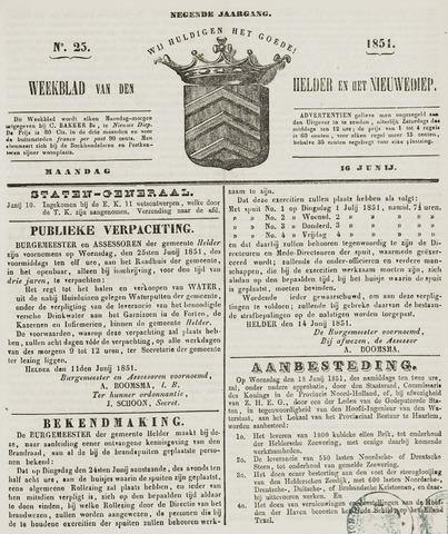Weekblad van Den Helder en het Nieuwediep 1851-06-16