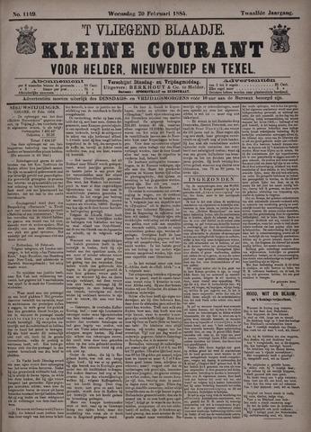 Vliegend blaadje : nieuws- en advertentiebode voor Den Helder 1884-02-20