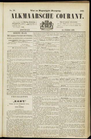 Alkmaarsche Courant 1892-02-14