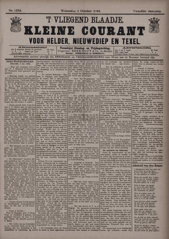 Vliegend blaadje : nieuws- en advertentiebode voor Den Helder 1884-10-08