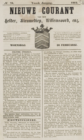 Nieuwe Courant van Den Helder 1862-02-26