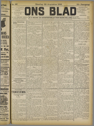 Ons Blad : katholiek nieuwsblad voor N-H 1916-08-22