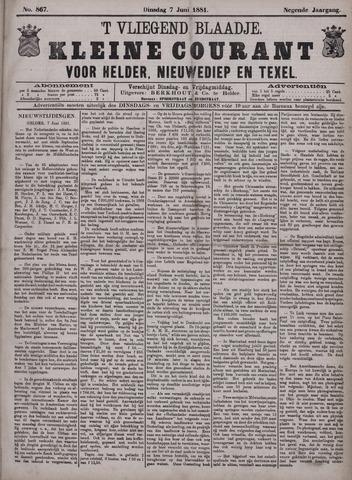 Vliegend blaadje : nieuws- en advertentiebode voor Den Helder 1881-06-07
