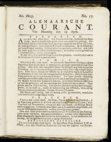 Alkmaarsche Courant 1805-04-29