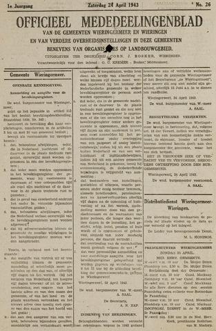 Mededeelingenblad Wieringermeer en Wieringen 1943-04-24