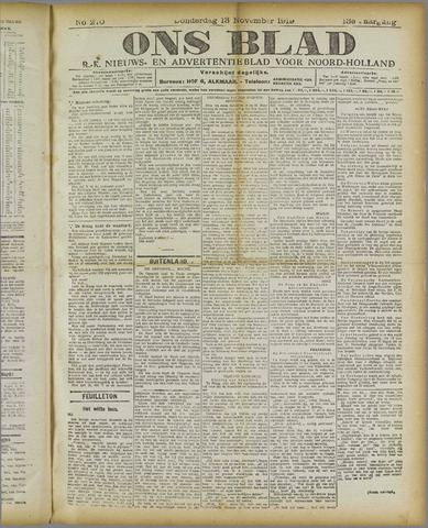 Ons Blad : katholiek nieuwsblad voor N-H 1919-11-13