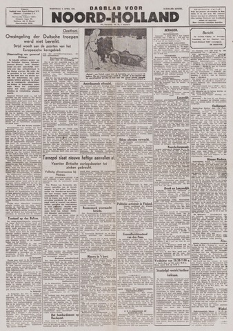 Dagblad Noord-Holland, Schager editie 1944-04-05