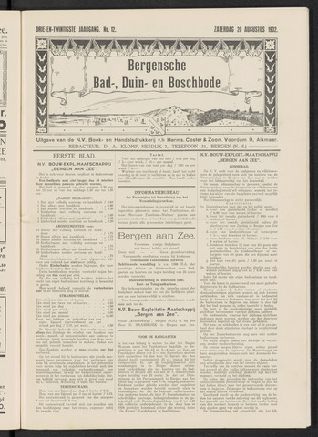 Bergensche bad-, duin- en boschbode 1932-08-20