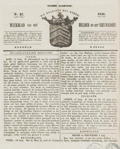 Weekblad van Den Helder en het Nieuwediep 1846-07-06
