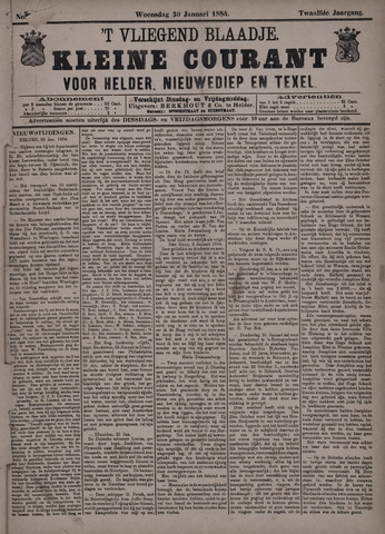 Vliegend blaadje : nieuws- en advertentiebode voor Den Helder 1884-01-30