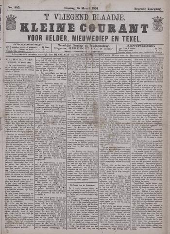 Vliegend blaadje : nieuws- en advertentiebode voor Den Helder 1881-03-15