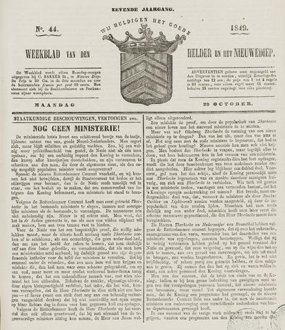 Weekblad van Den Helder en het Nieuwediep 1849-10-29
