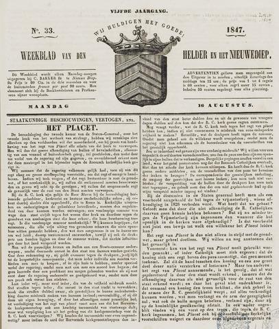 Weekblad van Den Helder en het Nieuwediep 1847-08-16