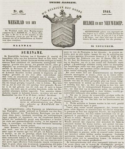 Weekblad van Den Helder en het Nieuwediep 1844-11-25