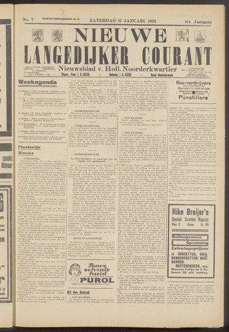 Nieuwe Langedijker Courant 1932-01-16