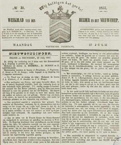 Weekblad van Den Helder en het Nieuwediep 1857-07-27