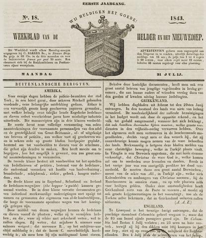 Weekblad van Den Helder en het Nieuwediep 1843-07-31