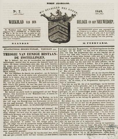 Weekblad van Den Helder en het Nieuwediep 1848-02-14