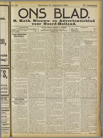 Ons Blad : katholiek nieuwsblad voor N-H 1912-08-10