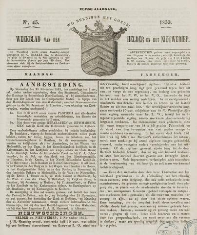 Weekblad van Den Helder en het Nieuwediep 1853-11-07