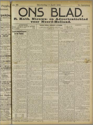 Ons Blad : katholiek nieuwsblad voor N-H 1913-04-03