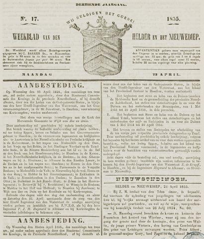 Weekblad van Den Helder en het Nieuwediep 1855-04-23