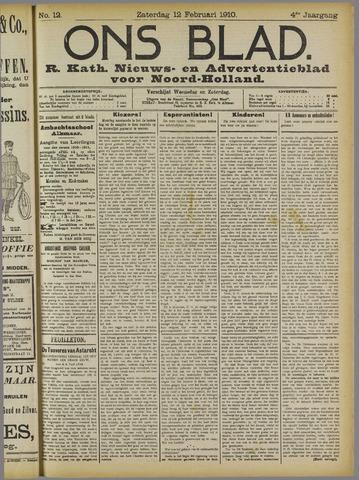 Ons Blad : katholiek nieuwsblad voor N-H 1910-02-12