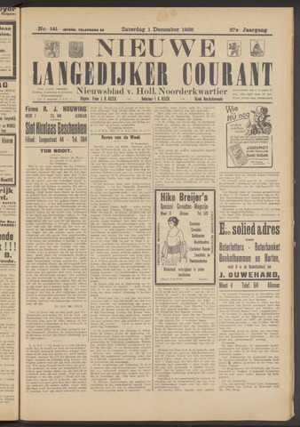 Nieuwe Langedijker Courant 1928-12-01