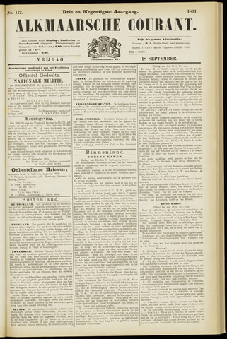 Alkmaarsche Courant 1891-09-18