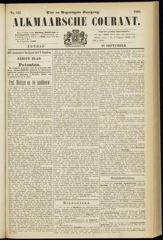 Alkmaarsche Courant 1892-09-18