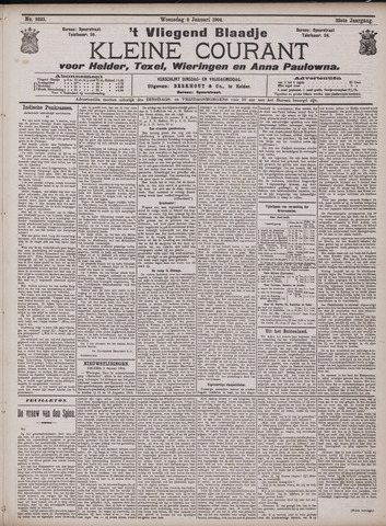 Vliegend blaadje : nieuws- en advertentiebode voor Den Helder 1904-01-06