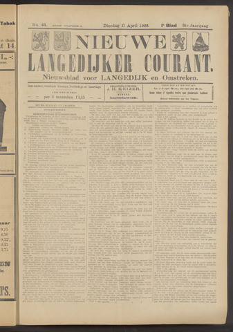 Nieuwe Langedijker Courant 1922-04-11