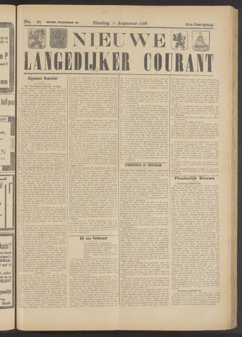 Nieuwe Langedijker Courant 1926-08-03
