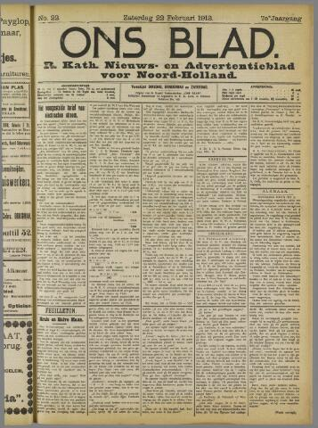 Ons Blad : katholiek nieuwsblad voor N-H 1913-02-22