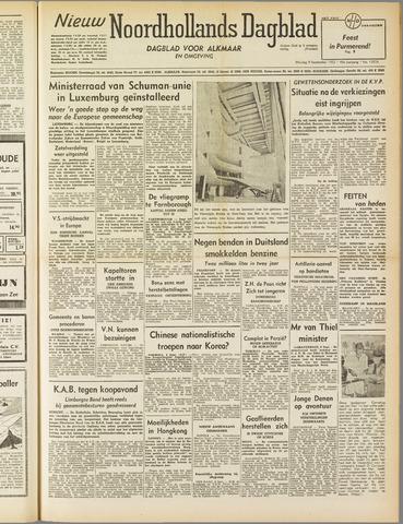 Nieuw Noordhollandsch Dagblad : voor Alkmaar en omgeving 1952-09-09