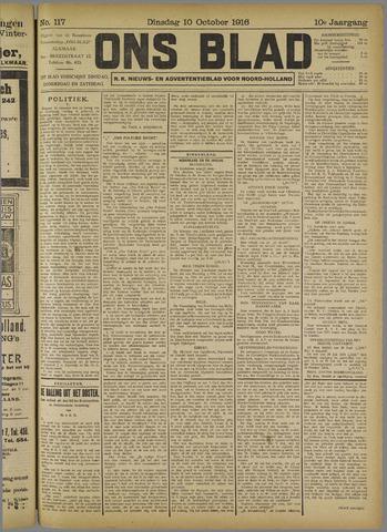 Ons Blad : katholiek nieuwsblad voor N-H 1916-10-10